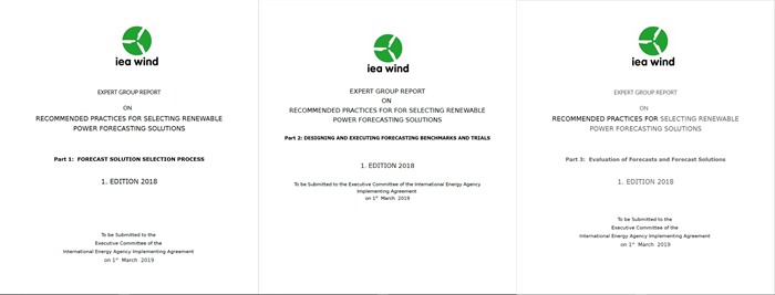 The three title pages of the IEA Recommended Practice on Forecast Solution Selection.